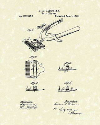 Hair Clipper 1881 Patent Art Poster by Prior Art Design