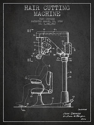 Hair Cutting Machine Patent From 1966 - Charcoal Poster by Aged Pixel