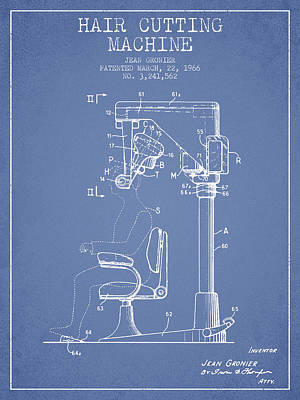 Hair Cutting Machine Patent From 1966 - Light Blue Poster by Aged Pixel