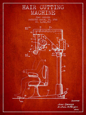 Hair Cutting Machine Patent From 1966 - Red Poster by Aged Pixel