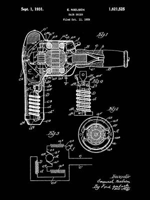 Hair Dryer Patent 1929 - Black Poster by Stephen Younts