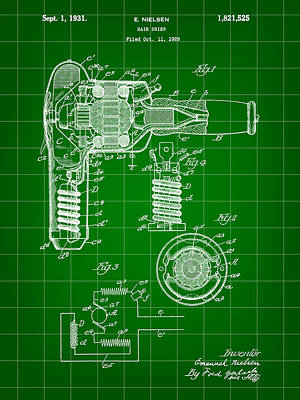 Hair Dryer Patent 1929 - Green Poster by Stephen Younts