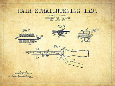 Hair Straightening Iron Patent From 1926 - Vintage Poster by Aged Pixel