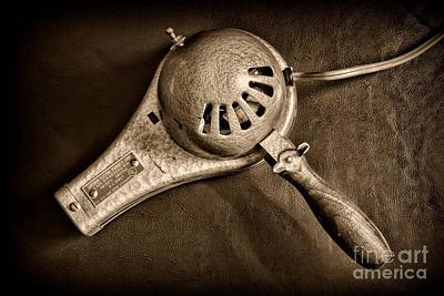 Hair Stylist - Vintage Hair Dryer - Black And White Poster