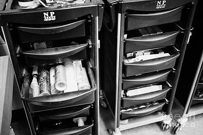 Hairdressers Equipment Drawer Trolley In A Salon Poster by Joe Fox