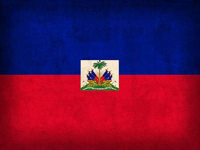 Haiti Flag Vintage Distressed Finish Poster by Design Turnpike