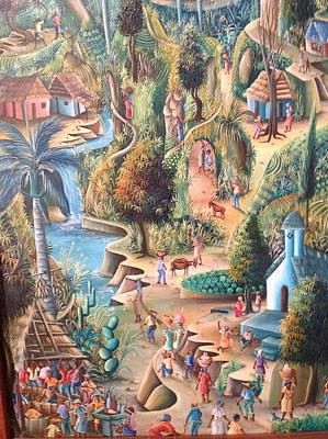 Haitian Village Poster by Dimanche from Haiti