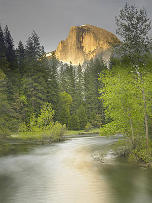 Half Dome And The Merced River At Sunset Poster