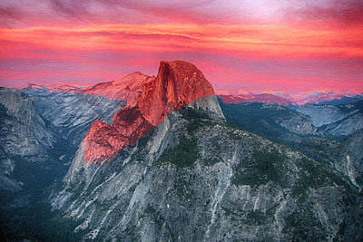 Poster featuring the painting Half Dome Sunset From Glacier Point by John Haldane