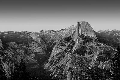 Half Dome Twilight - Black And White Poster by Peter Tellone