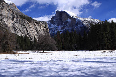 Poster featuring the photograph Half Dome Winter Snow by Duncan Selby