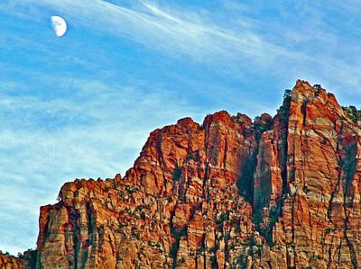 Half Moon Over Zion National Park-utah Poster