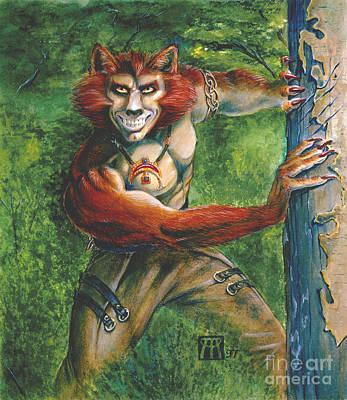 Half Wolf Werewolf Poster by Melissa A Benson