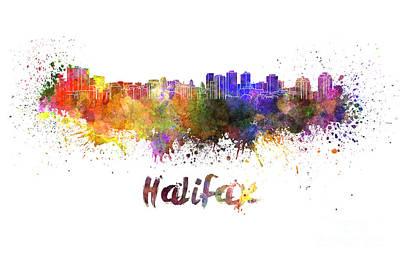 Halifax Skyline In Watercolor Poster