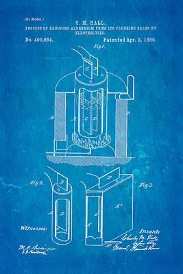 Hall Aluminium Production Patent Art 1889 Blueprint Poster