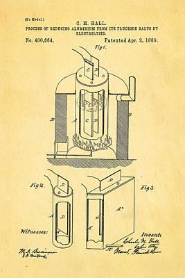 Hall Aluminium Production Patent Art 1889 Poster