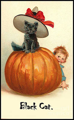 Halloween. Black Cat In Witch Hat Poster by Pierpont Bay Archive