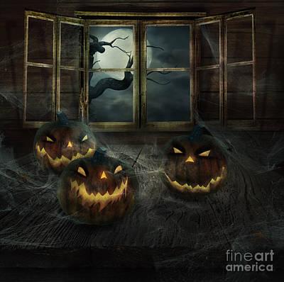 Halloween Design - Abandoned Pumpkins Poster