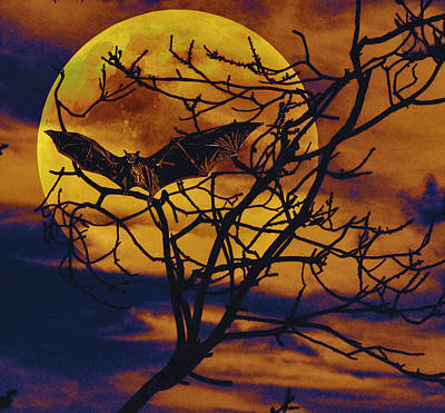 Poster featuring the painting Halloween Full Moon Terror by David Mckinney