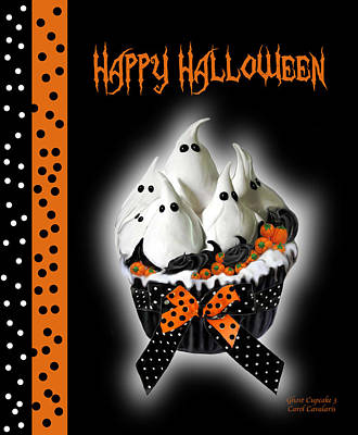 Halloween Ghost Cupcake 3 Poster by Carol Cavalaris