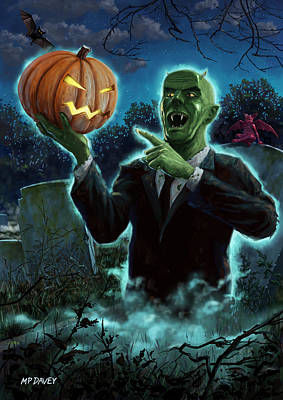 Halloween Ghoul Rising From Grave With Pumpkin Poster by Martin Davey