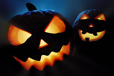 Halloween Pumpkins Closeup -  Jack O'lantern Poster by Johan Swanepoel
