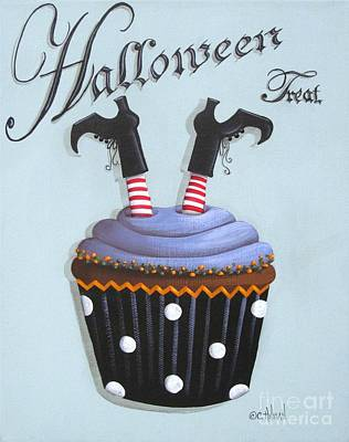 Halloween Treat Witch Cupcake Poster by Catherine Holman