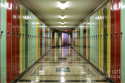 Hallway Lined With Lockers Poster