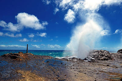 Poster featuring the photograph Halona Blowhole Misty Geyser by Aloha Art