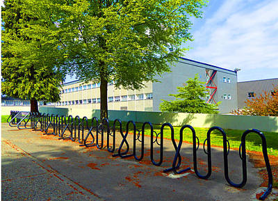 Poster featuring the photograph Bike Rack by Laurie Tsemak