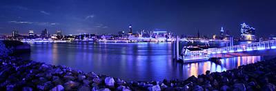 Hamburg Blue Port Panorama Poster by Marc Huebner