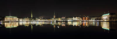 Hamburg Skyline At Night Poster by Marc Huebner