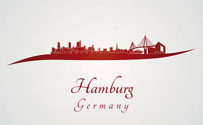 Hamburg Skyline In Red Poster by Pablo Romero