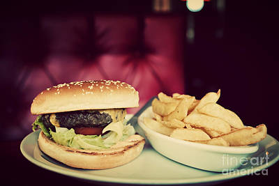 Hamburger And French Fries Plate In American Food Restaurant Poster by Michal Bednarek