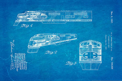 Hamiton Locomotive Patent Art 1937 Blueprint Poster