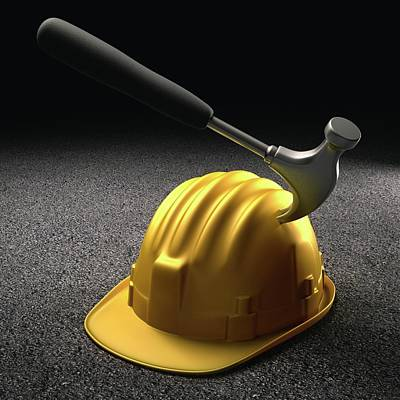 Hammer Hitting A Hard Hat Poster by Ktsdesign