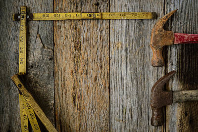 Hammers And Measuring Tape On Rustic Old Wood Background Poster by Brandon Bourdages