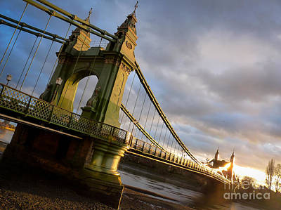 Poster featuring the photograph Hammersmith Bridge In London by Peta Thames