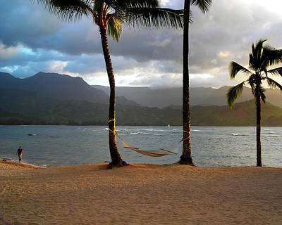 Hammock At Hanalei Bay Poster by James Eddy