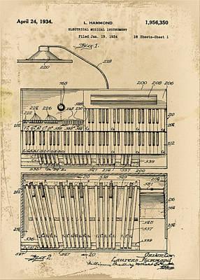 Hammond Organ Patent Poster