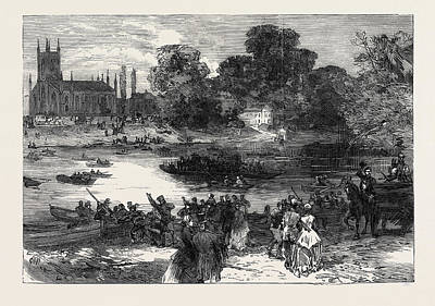 Hampton Races The Ferry At Moulsey 1866 Poster by English School