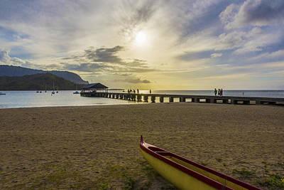 Hanalei Bay Pier Outrigger Canoe Sunset - Kauai Hawaii Poster by Brian Harig