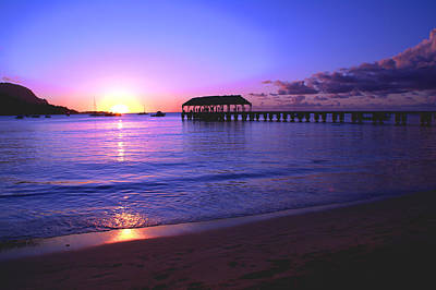 Hanalei Bay Pier Sunset Poster
