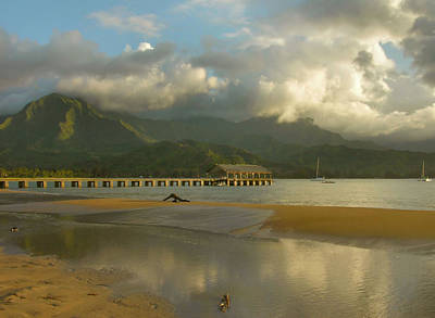 Hanalei Bay Reflections - Kauai Poster by Stephen  Vecchiotti