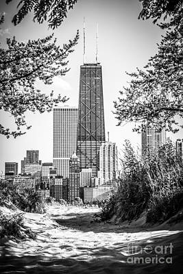 Hancock Building Through Trees Black And White Photo Poster