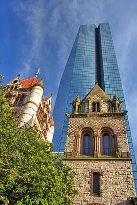 Hancock Tower Over Trinity Church Poster