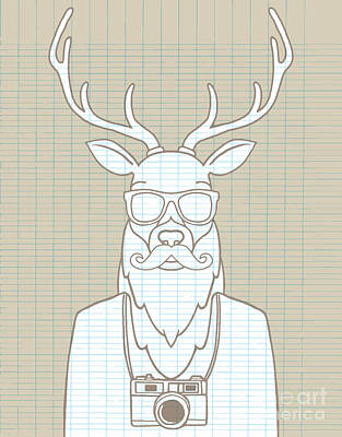 Hand Drawn Hipster Deer In Sunglasses Poster