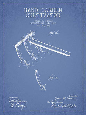 Hand Garden Cultivator Patent From 1889 - Light Blue Poster by Aged Pixel