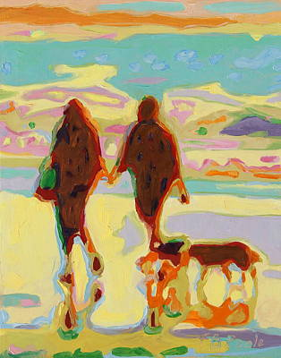 Hand In Hand On Beach With Two Dogs Oil Painting Bertram Poole Poster