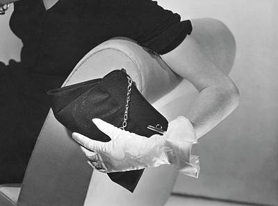 Hand Of A Model Wearing Moire Gloves Poster